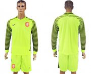 Wholesale Cheap Holland Blank Green Long Sleeves Goalkeeper Soccer Country Jersey