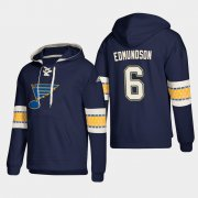 Wholesale Cheap St. Louis Blues #6 Joel Edmundson Blue adidas Lace-Up Pullover Hoodie