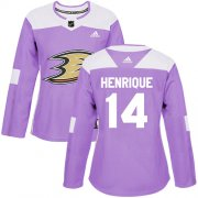 Wholesale Cheap Adidas Ducks #14 Adam Henrique Purple Authentic Fights Cancer Women's Stitched NHL Jersey