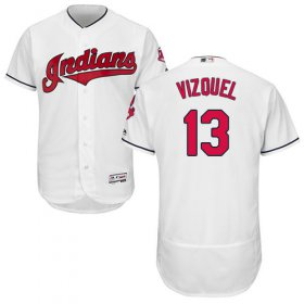 Wholesale Cheap Indians #13 Omar Vizquel White Flexbase Authentic Collection Stitched MLB Jersey