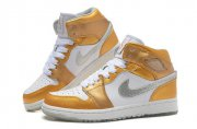 Wholesale Cheap Jordan 1 Girls Shoes white/gold/silver
