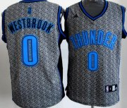 Wholesale Cheap Oklahoma City Thunder #0 Russell Westbrook Gray Static Fashion Jersey