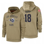 Wholesale Cheap Los Angeles Rams #18 Cooper Kupp Nike Tan 2019 Salute To Service Name & Number Sideline Therma Pullover Hoodie
