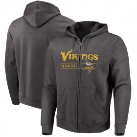 Wholesale Cheap Minnesota Vikings Majestic Hyper Stack Full-Zip Hoodie Heathered Charcoal