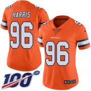 Wholesale Cheap Nike Broncos #96 Shelby Harris Orange Women's Stitched NFL Limited Rush 100th Season Jersey