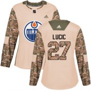 Wholesale Cheap Adidas Oilers #27 Milan Lucic Camo Authentic 2017 Veterans Day Women's Stitched NHL Jersey