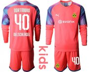 Wholesale Cheap Dortmund #40 Oelschlagel Pink Goalkeeper Long Sleeves Kid Soccer Club Jersey