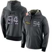 Wholesale Cheap NFL Men's Nike Denver Broncos #94 DeMarcus Ware Stitched Black Anthracite Salute to Service Player Performance Hoodie