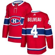 Wholesale Cheap Adidas Canadiens #4 Jean Beliveau Red Home Authentic Stitched Youth NHL Jersey