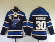 Wholesale Cheap Blues #30 Martin Brodeur Navy Blue Sawyer Hooded Sweatshirt Stitched NHL Jersey