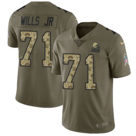 Wholesale Cheap Nike Browns #71 Jedrick Wills JR Olive/Camo Youth Stitched NFL Limited 2017 Salute To Service Jersey