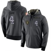 Wholesale Cheap NFL Men's Nike Oakland Raiders #4 Derek Carr Stitched Black Anthracite Salute to Service Player Performance Hoodie