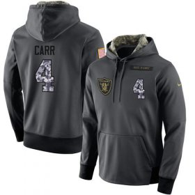 Wholesale Cheap NFL Men\'s Nike Oakland Raiders #4 Derek Carr Stitched Black Anthracite Salute to Service Player Performance Hoodie
