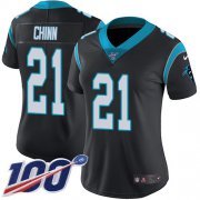 Wholesale Cheap Nike Panthers #21 Jeremy Chinn Black Team Color Women's Stitched NFL 100th Season Vapor Untouchable Limited Jersey