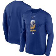Wholesale Cheap Men's Seattle Mariners Nike Royal Authentic Collection Legend Performance Long Sleeve T-Shirt