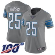 Wholesale Cheap Nike Lions #25 Will Harris Gray Women's Stitched NFL Limited Rush 100th Season Jersey