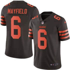 Wholesale Cheap Nike Browns #6 Baker Mayfield Brown Men\'s Stitched NFL Limited Rush Jersey