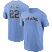 Wholesale Cheap Milwaukee Brewers #22 Christian Yelich Nike Name & Number T-Shirt Light Blue