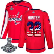 Wholesale Cheap Adidas Capitals #32 Dale Hunter Red Home Authentic USA Flag Stanley Cup Final Champions Stitched NHL Jersey