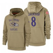 Wholesale Cheap Baltimore Ravens #8 Lamar Jackson Nike Tan 2019 Salute To Service Name & Number Sideline Therma Pullover Hoodie