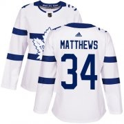 Wholesale Cheap Adidas Maple Leafs #34 Auston Matthews White Authentic 2018 Stadium Series Women's Stitched NHL Jersey