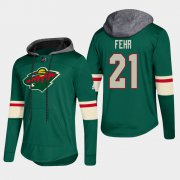 Wholesale Cheap Wild #21 Eric Fehr Green 2018 Pullover Platinum Hoodie