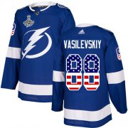 Cheap Adidas Lightning #88 Andrei Vasilevskiy Blue Home Authentic USA Flag Youth 2020 Stanley Cup Champions Stitched NHL Jersey