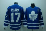 Wholesale Cheap Maple Leafs #17 Wendel Clark Stitched Blue CCM Throwback NHL Jersey