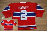 Wholesale Cheap Canadiens #2 Doug Harvey Stitched Red CH CCM Throwback NHL Jersey
