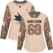 Wholesale Cheap Adidas Sharks #68 Melker Karlsson Camo Authentic 2017 Veterans Day Women's Stitched NHL Jersey