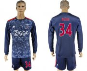 Wholesale Cheap Ajax #34 Nouri Away Long Sleeves Soccer Club Jersey