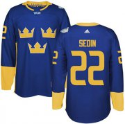 Wholesale Cheap Team Sweden #22 Daniel Sedin Blue 2016 World Cup Stitched NHL Jersey