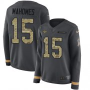 Wholesale Cheap Nike Chiefs #15 Patrick Mahomes Anthracite Salute to Service Women's Stitched NFL Limited Therma Long Sleeve Jersey
