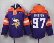 Wholesale Cheap Nike Vikings #97 Everson Griffen Purple Player Pullover NFL Hoodie