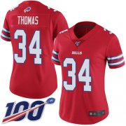 Wholesale Cheap Nike Bills #34 Thurman Thomas Red Women's Stitched NFL Limited Rush 100th Season Jersey