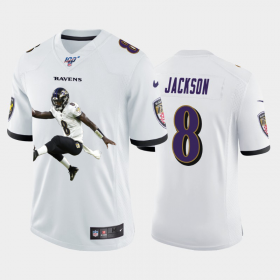 Cheap Baltimore Ravens #8 Lamar Jackson Nike Team Hero 3 Vapor Limited NFL 100 Jersey White
