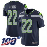 Wholesale Cheap Nike Seahawks #22 Quinton Dunbar Steel Blue Team Color Men's Stitched NFL 100th Season Vapor Untouchable Limited Jersey
