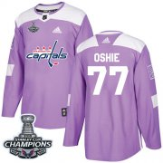 Wholesale Cheap Adidas Capitals #77 T.J. Oshie Purple Authentic Fights Cancer Stanley Cup Final Champions Stitched NHL Jersey