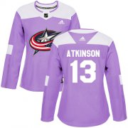 Wholesale Cheap Adidas Blue Jackets #13 Cam Atkinson Purple Authentic Fights Cancer Women's Stitched NHL Jersey