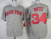 Wholesale Cheap Red Sox #34 David Ortiz Grey Stitched MLB Jersey
