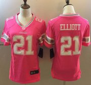 Wholesale Cheap Nike Cowboys #21 Ezekiel Elliott Pink Women's Stitched NFL Elite Jersey