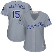 Wholesale Cheap Royals #15 Whit Merrifield Grey Road Women's Stitched MLB Jersey