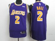 Wholesale Cheap Lakers 2 Lonzo Ball Purple 2018-19 Nike Authentic Jersey