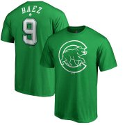Wholesale Cheap Chicago Cubs #9 Javier Baez Majestic St. Patrick's Day Stack Player Name & Number T-Shirt Kelly Green