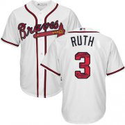 Wholesale Cheap Braves #3 Babe Ruth White Team Logo Fashion Stitched MLB Jersey