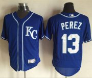 Wholesale Royals #13 Salvador Perez Royal Blue Flexbase Authentic Collection Stitched Baseball Jersey