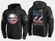 Wholesale Cheap Sabres #22 Johan Larsson NHL Banner Wave Usa Flag Black Hoodie