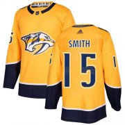 Wholesale Cheap Adidas Predators #15 Craig Smith Yellow Home Authentic Stitched NHL Jersey