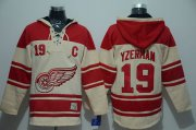 Wholesale Cheap Red Wings #19 Steve Yzerman Cream Sawyer Hooded Sweatshirt Stitched NHL Jersey