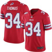 Wholesale Cheap Nike Bills #34 Thurman Thomas Red Men's Stitched NFL Elite Rush Jersey